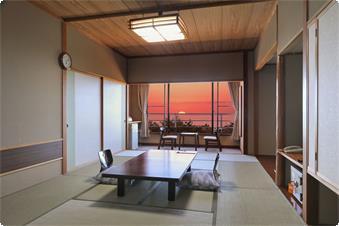 ・【4~6階海側和室一例】天気の良い日には海に沈む夕日をご覧頂けます