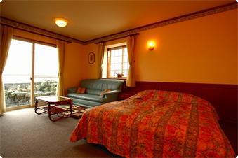 約11畳のダブルの特別室のバルコニーには相模湾が一望の岩風呂がついております。