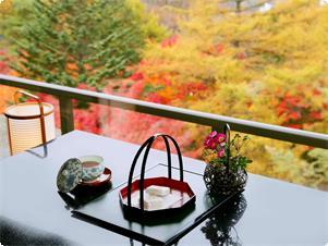 ながめ抜群の最上階和室、特別展望ルーム。秋は、広い敷地に広がる見事な紅葉が楽しめます。