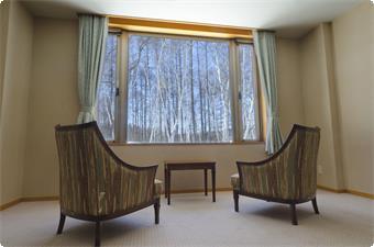 部屋から眺める白樺並木道