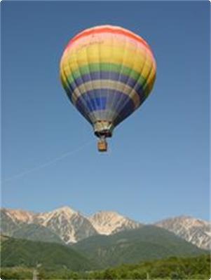 熱気球を下から見上げる