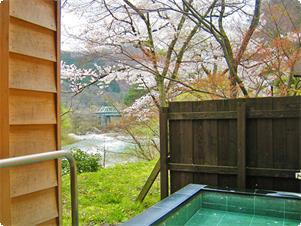 春の露天風呂風景