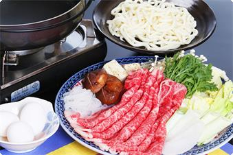 Sukiyaki with Domestic Beef(We will provide on the 3rd and 6th and 9th night,if you reserve the plan include dinner and breakfast.)