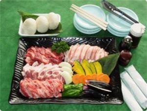 バーベキュー食材(肉・野菜・おむすび・調味料)