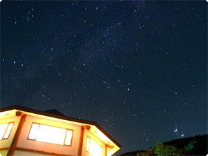 よく晴れた日には貸切風呂に入りながら満天の星が見られることも…