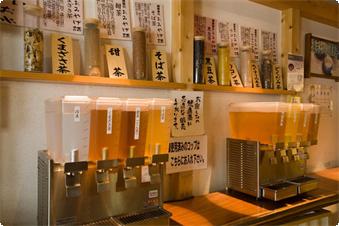 湯上りサロンにてナノ水を使用した7種の健康茶をサービス致しております