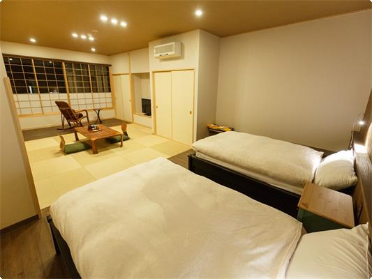 ・ツインベット ・個室書斎つき ・3~4名様の場合はお布団セルフ敷きとなります。