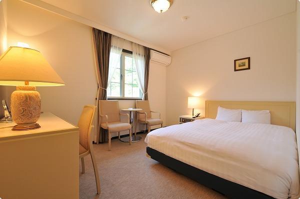 17㎡スタンダードダブル。オリバー社製の快適ベッド!拘り寝具デュベスタイルです。